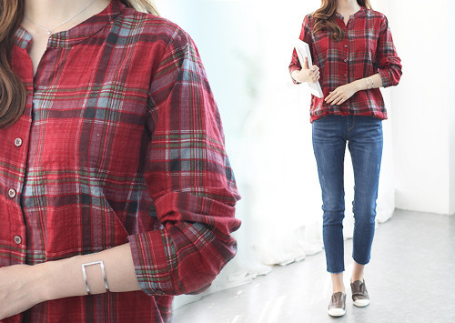 BA1 BL5256 / Bo Ellie Check Washing Jacket Shirt (Shirt Vest1!)